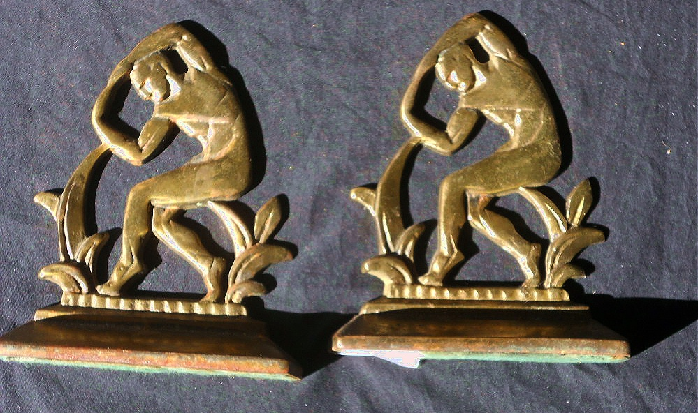 Image for Vintage Solid Brass Nude MALE BookEnds