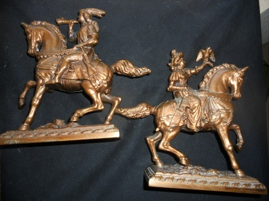 Image for MAN AND WOMAN ON HORSEBACK.  HEAVY METAL, COPPER COATED.